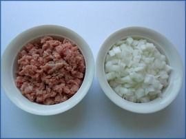 Ground Turkey and Diced Onions in Bowls
