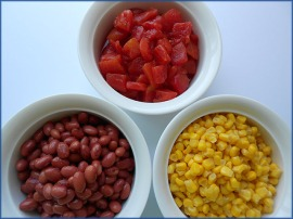 Chili Trio: Red Beans, Corn and Diced Tomatoes in Bowls
