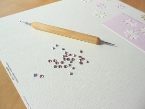 // Swarovski Elements to embellish flowers.