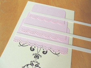 // Cake ribbons (cardstock strips) for design.